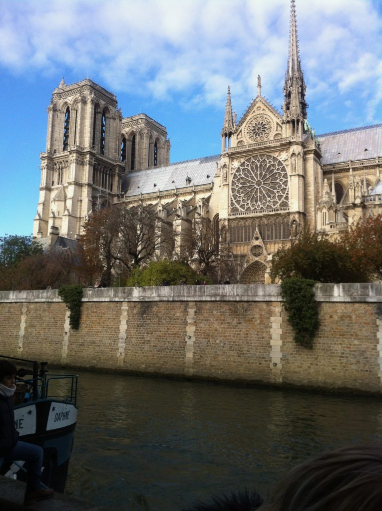Notre Dame cathedral seen from the river Seine