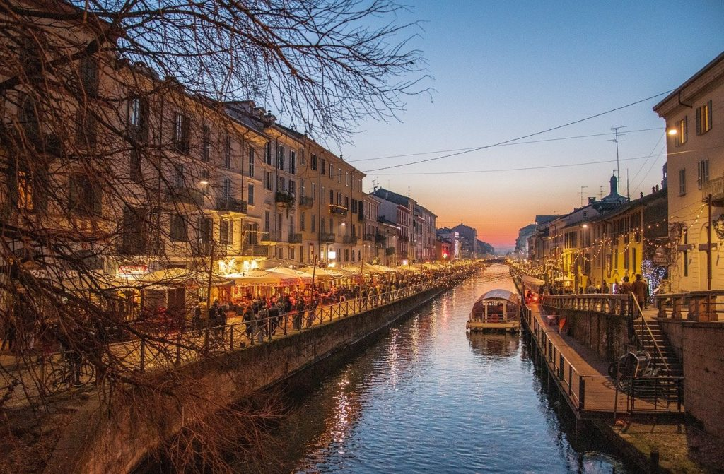 Navigli  canals after sunset in Milan