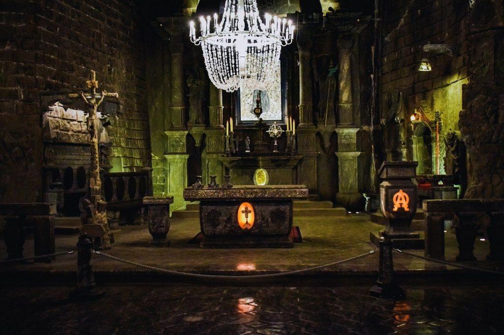 Inside of Krakow salt mine with a chandelier made of salt
