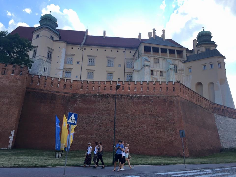 view of the Wawel castle in Krakow, seen from the road